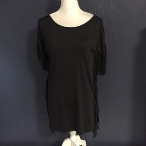 Women's Gamiss black Tunic top Size M fringes